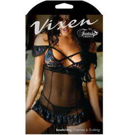 FANTASY LINGERIE Vixen Bewitching Off Shoulder Cage Chemise & Matching G-String Black/Blue ONE SIZE