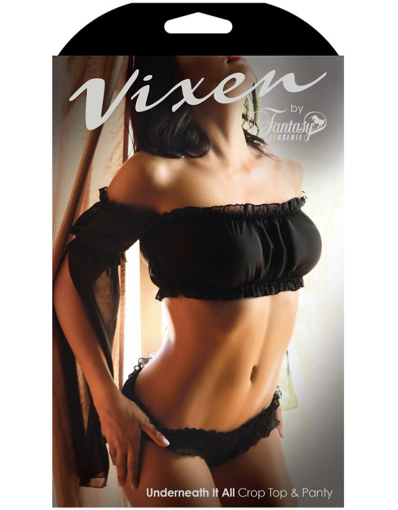 FANTASY LINGERIE Vixen Underneath It All Crop Top & Panty Black