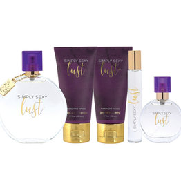 Simply Sexy Lust Pheromone Infused Perfume Gift Set 4Pcs (Shower Gel, Silver Shimmer Lotion, Perfume 25ml, Keychain)