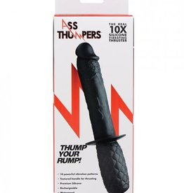 Ass Thumpers Real 10x Silicone Vibrating Thruster - Black