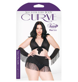 FANTASY LINGERIE Curve Sassy In The Saddle Cowgirl Costume Black