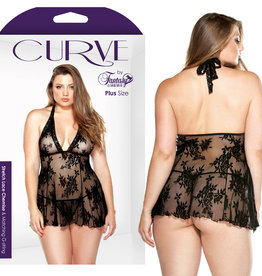 FANTASY LINGERIE Curve Stretch Lace Chemise & Matching G-String Black