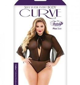 FANTASY LINGERIE Curve Celine Collared Bodysuit Tie Neck Black