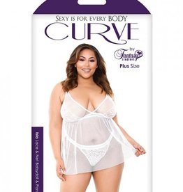 FANTASY LINGERIE Curve Isla Lace & Net Babydoll with Panty White