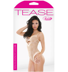FANTASY LINGERIE Tease Tori Stretch Lace Keyhole Front Teddy Nude