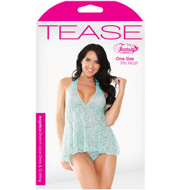 FANTASY LINGERIE Tease Angelica Stretch Lace Dress & G-string Aqua O/s
