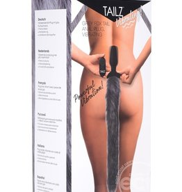 XR BRANDS Tailz Vibrating Grey Fox Tail Anal Plug Silicone Rechargeable Remote Control