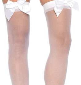LEG AVENUE Sheer Thigh Highs - One Size - White
