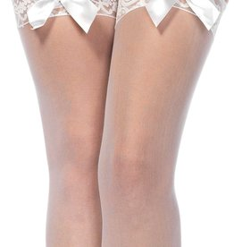 LEG AVENUE Sheer Thigh Hi Lace Top With Satin Bow - White - One Size