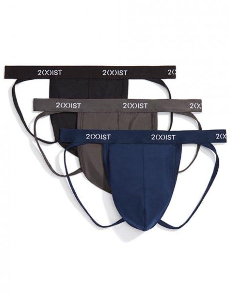 2xist 3 Pack Micro Dri Jock Strap Negro, Humo, Azul