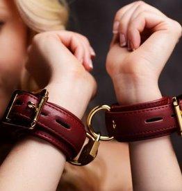 Strict Leather Burgundy Locking Wrist Cuffs