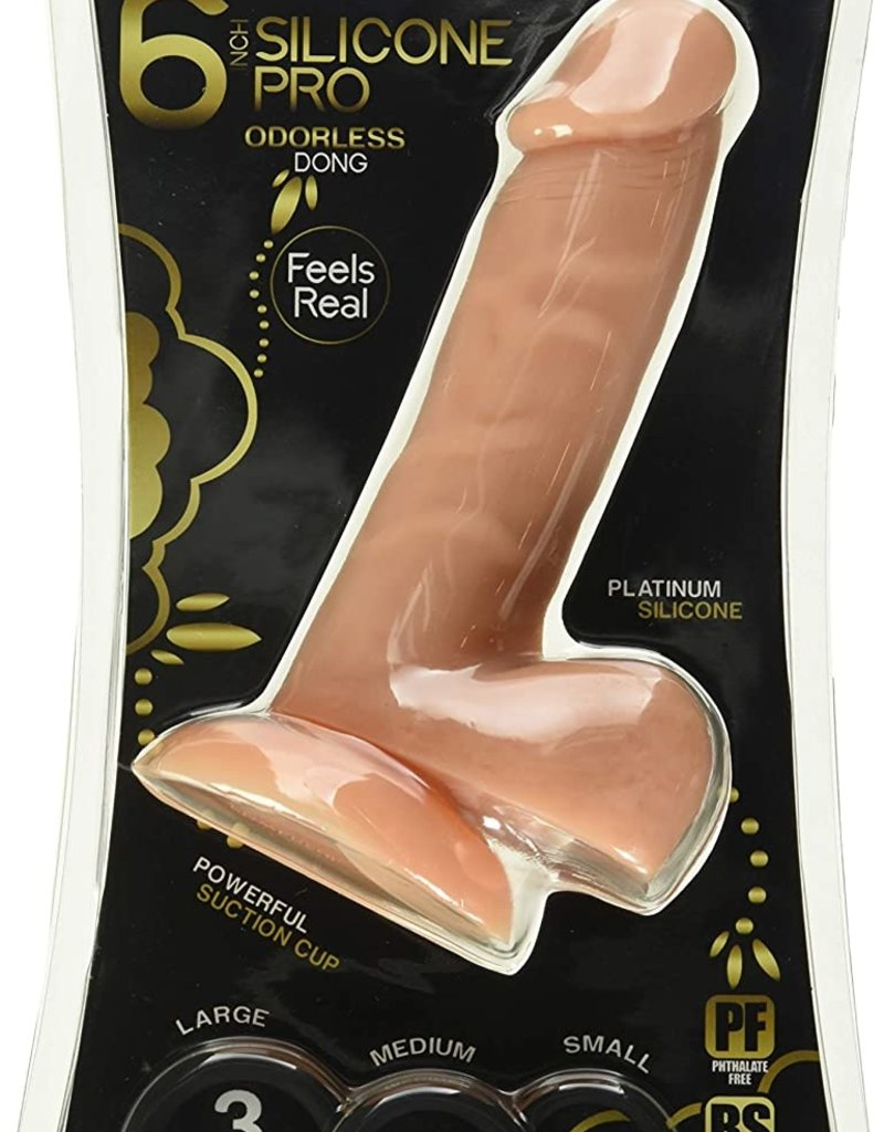 Cloud 9 Novelties Premium 6 Inch Pro Sensual Realistic Silicone Dildo with Bonus Cock Rings 3 Piece, Flesh