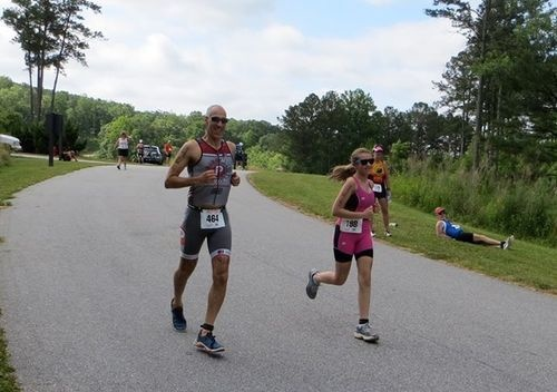 Father daughter finishing the race