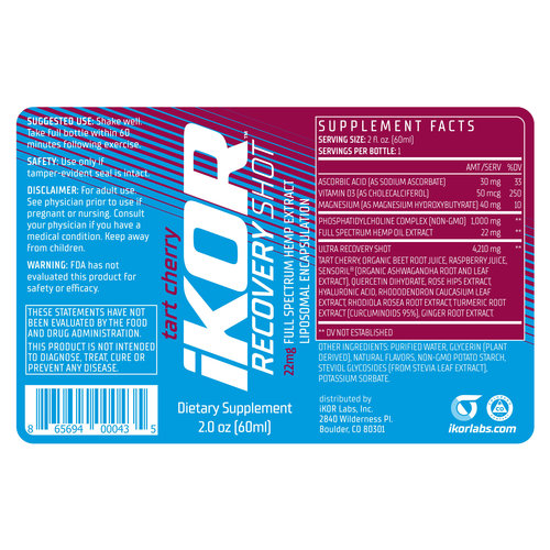 iKOR Labs iKOR Recovery Shot - single