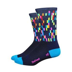 "DeFeet DeFeet Aireator 6"" Socks Navy w/ process blue and hi-vis pink"