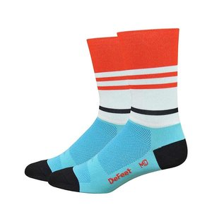 "DeFeet DeFeet Aireator 6"" Socks Light Blue/Poinciana"