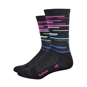 "DeFeet DeFeet Wooleator 6"" Socks - Charcoal w/ blue and pink"