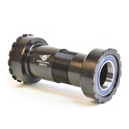 Wheels Manufacturing 386EVO Bottom Bracket - ABEC-3 Bearings, For 24mm (Shimano) Cranks, Black