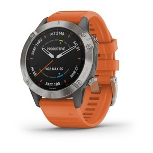 Garmin Garmin fenix 6 Sapphire 47mm Ti, Wristband: Orange - Silicone