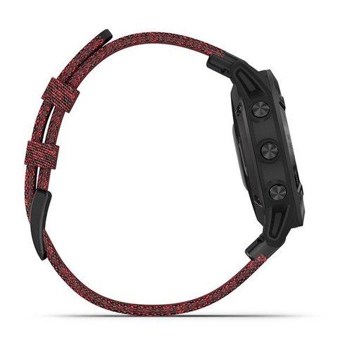 Garmin Garmin fenix 6 Sapphire 47mm Black, Wristband: Heathered Red Nylon