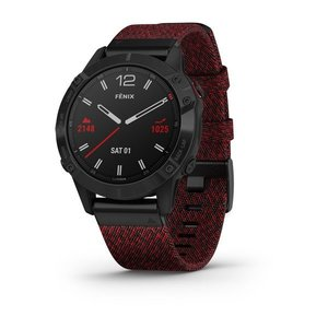 Garmin Garmin fenix 6 Sapphire 47mm Black, Wristband: Heathered Red Nylon