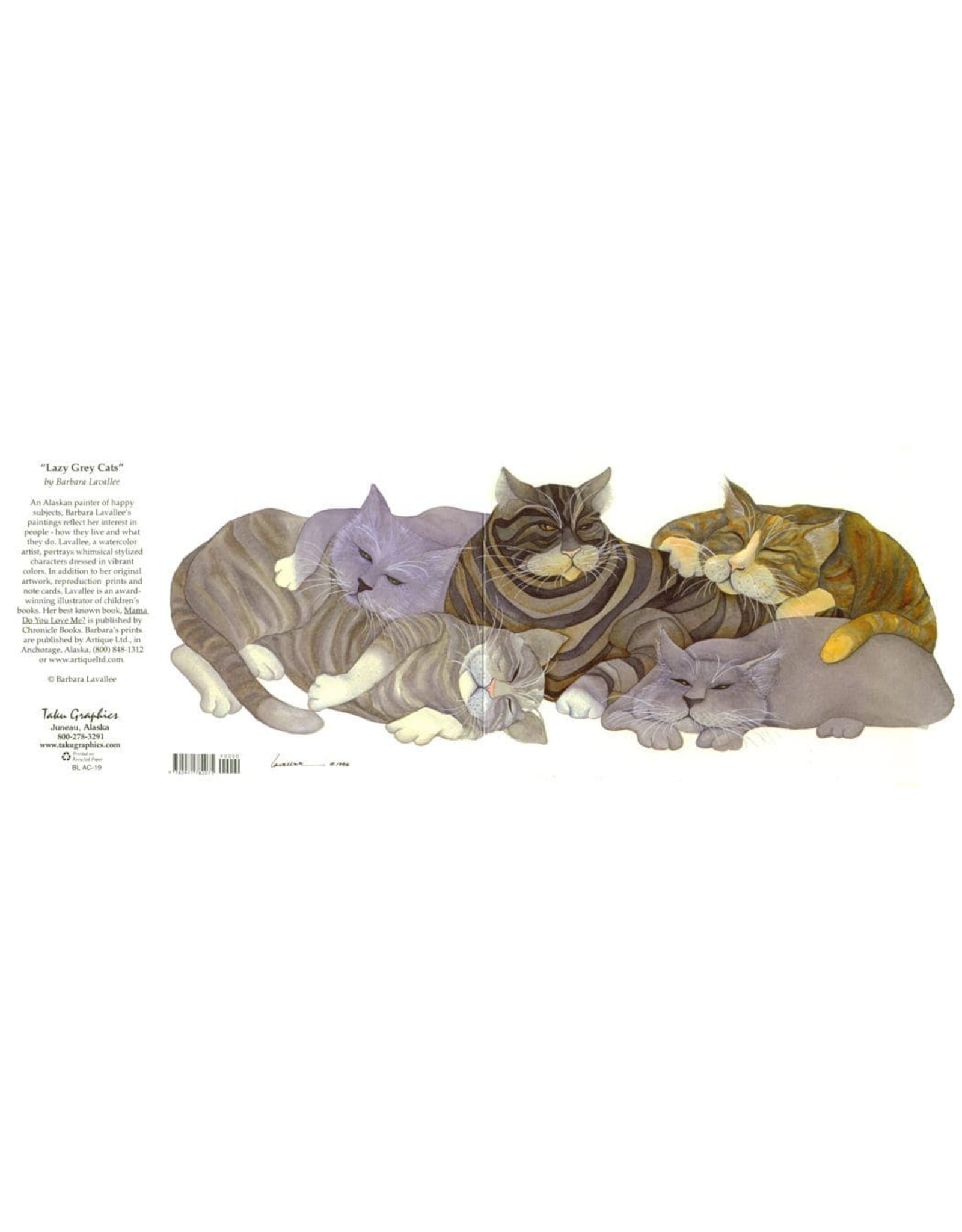 "Barbara Lavallee Barbara Lavallee ""Lazy Grey Cats"" Art Card"