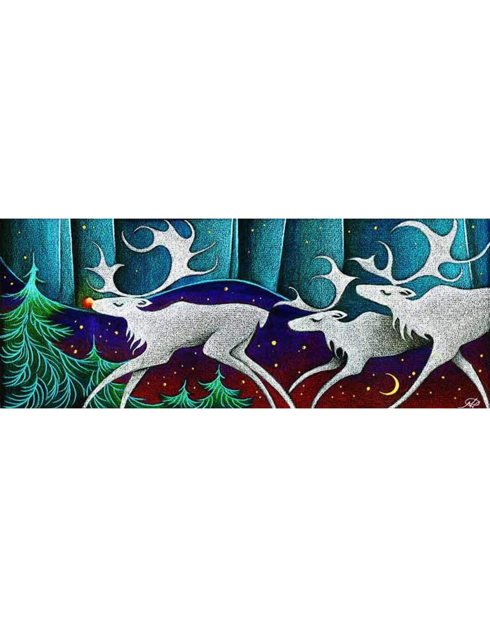 "Nathalie Parenteau Nathalie Parenteau ""Rudolph the Red Nose Caribou"" Art Card"