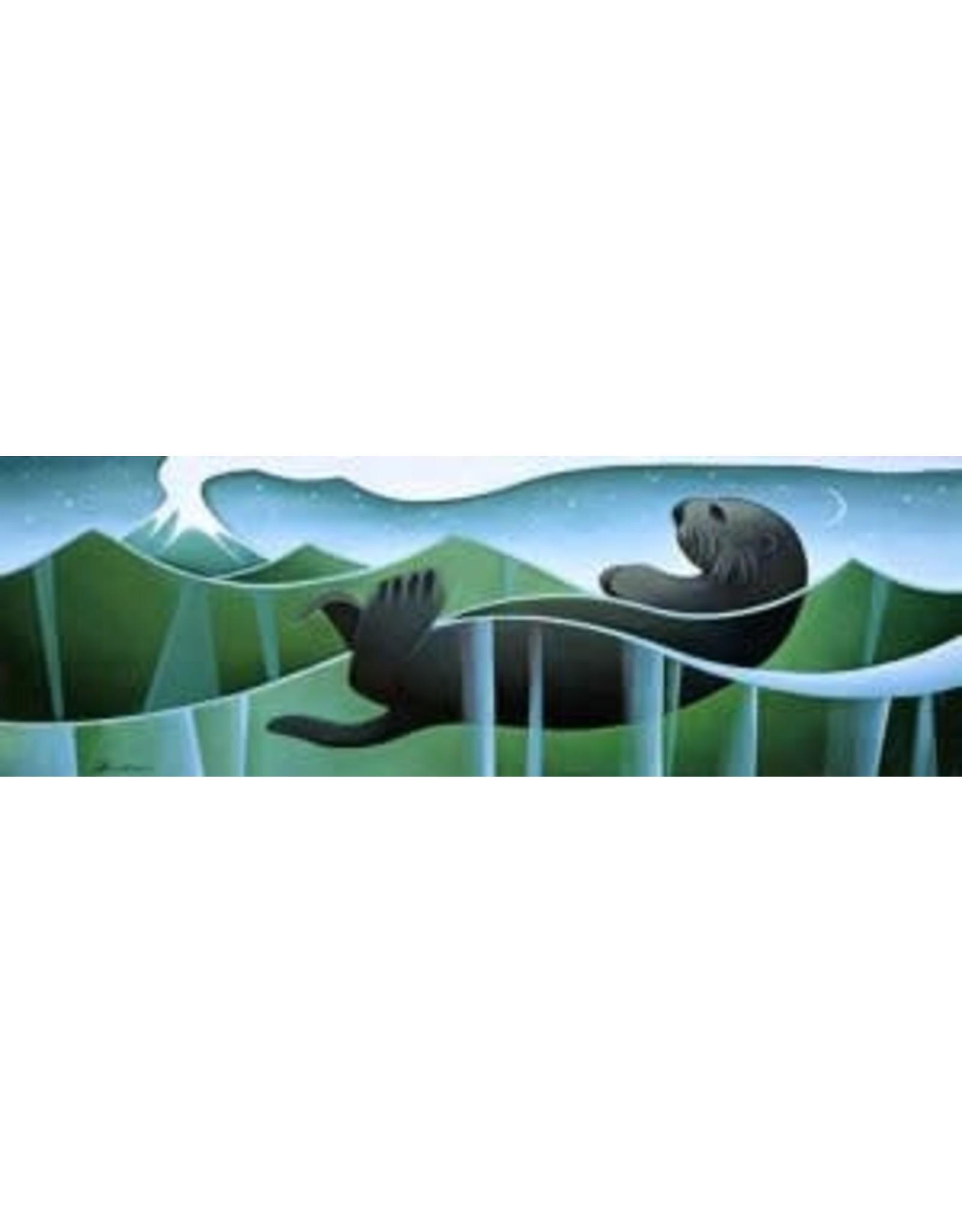 Nathalie Parenteau Sea Otter and Volcano (art card) | Nathalie Parenteau
