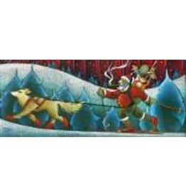 Nathalie Parenteau Skijoring Santa (art card)
