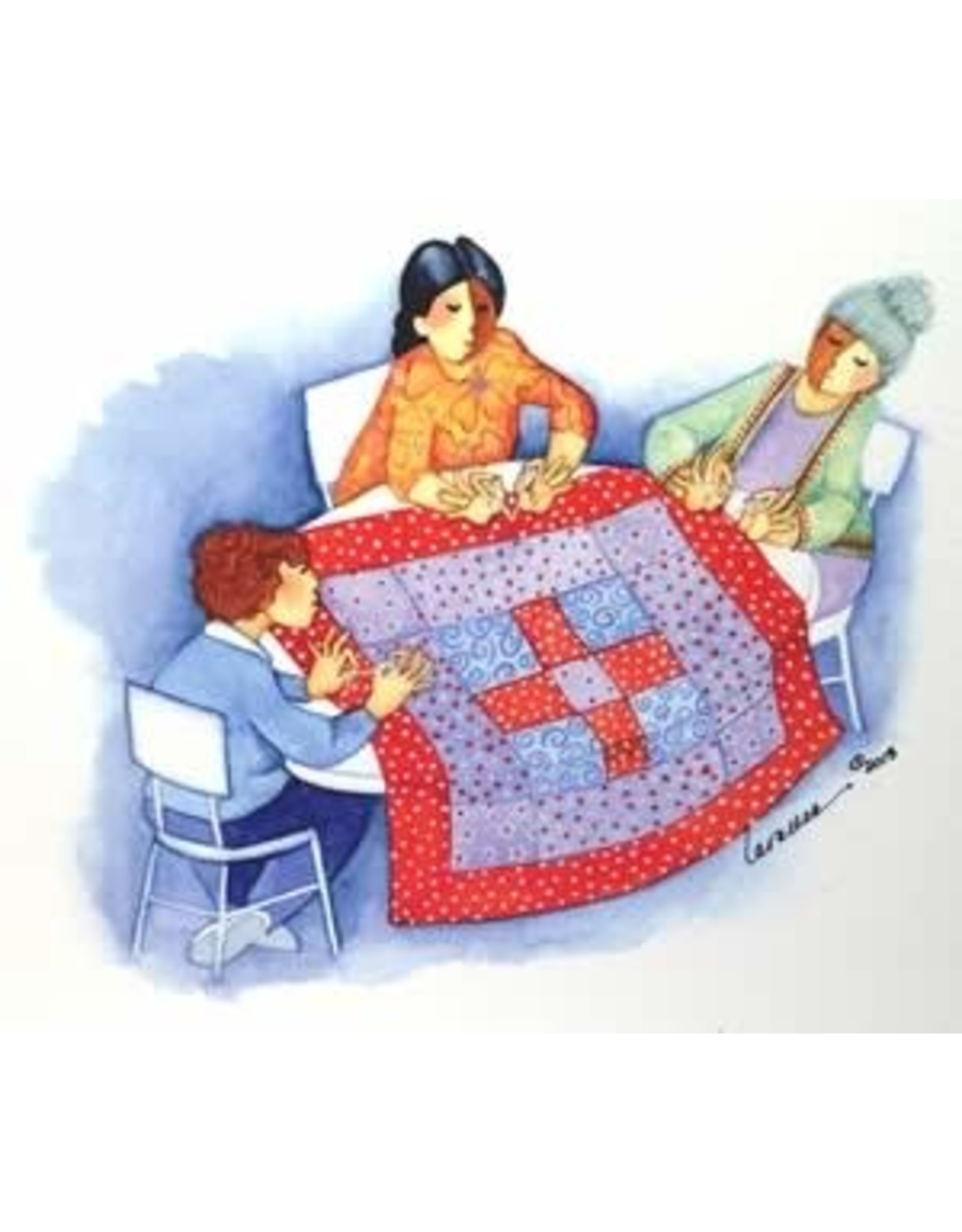 Barbara Lavallee Tying a Quilt | Barbara Lavallee