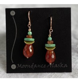 Moondance Alaska by Colleen Goldrich Moondance Earrings Carnelian, Turquoise, Sunstone, 14k gold&rose-gold-fill