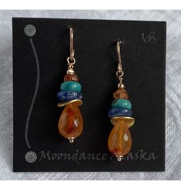 Moondance Earrings Carnelian, Kyanite, Turquoise, Sunstone & 14k gold&rose-gold-fill