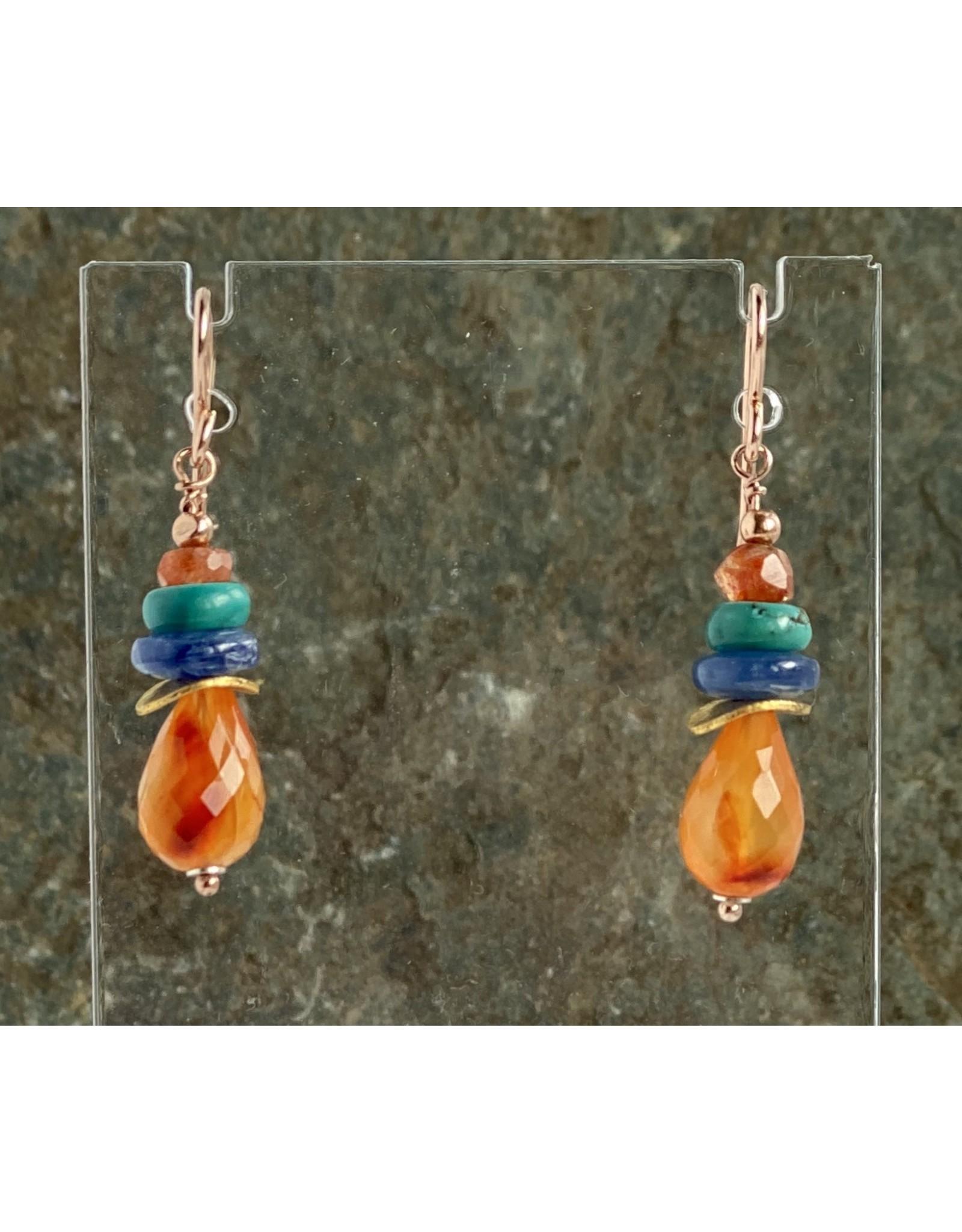 Moondance Earrings Carnelian, Kyanite, Turquoise, Sunstone & 14k gold&rose-gold-fill