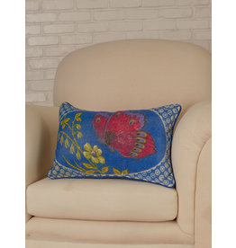 April Cornell Blue Mariposa Velvet Cushion