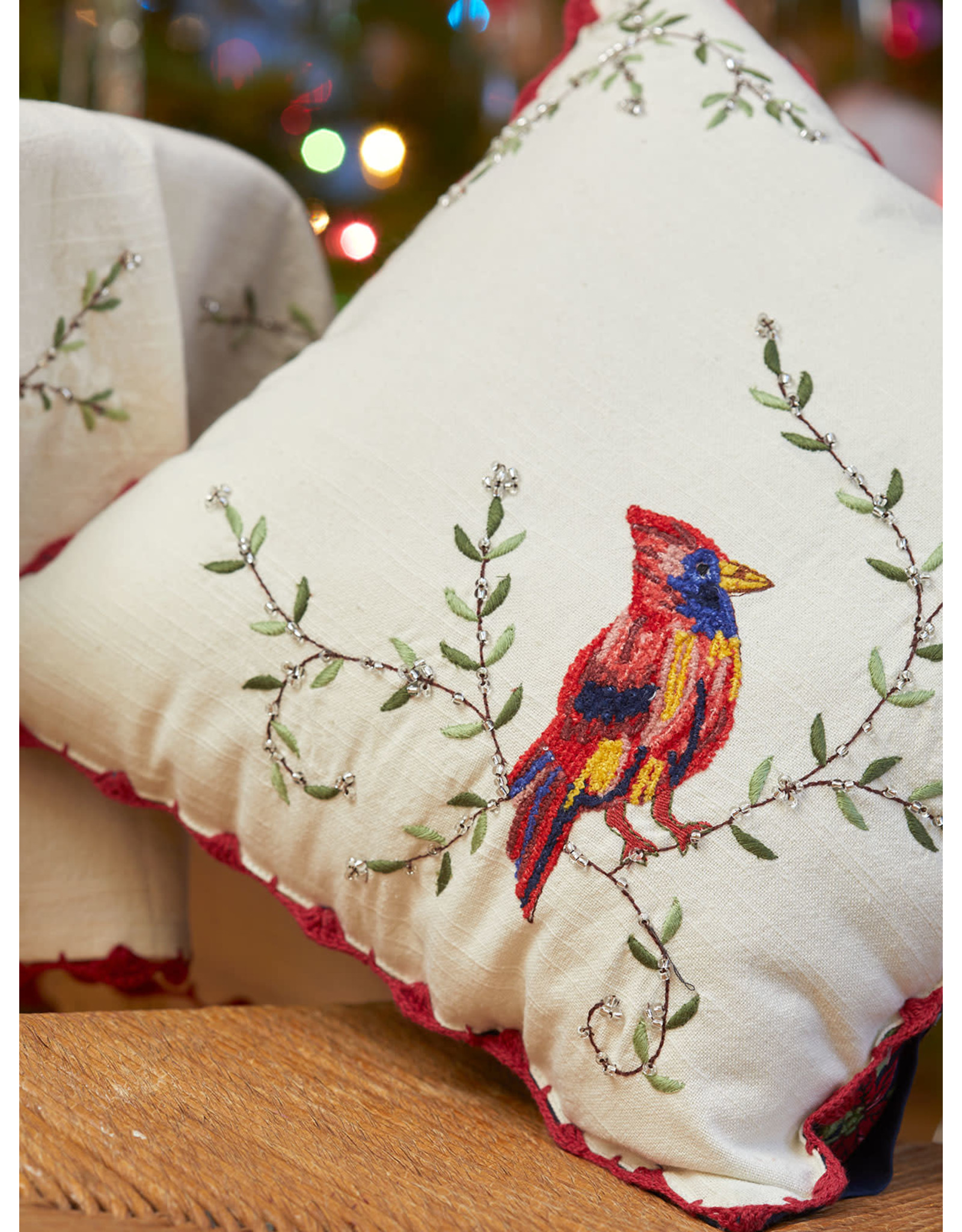 April Cornell April Cornell Cardinal's First Frost Embroidered Cushion