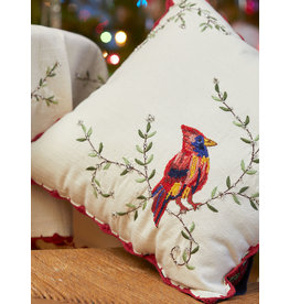 April Cornell Cardinal's First Frost Embroidered Cushion
