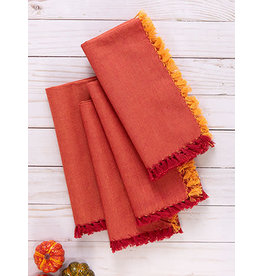 April Cornell Chambray RedOrange Napkins Set/4
