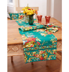 April Cornell Cottage Rose Teal 13x72 Runner