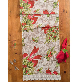 April Cornell Deck the Holly 18x90 Linen Runner