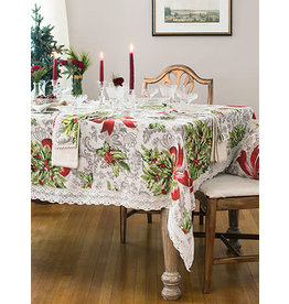 April Cornell Deck the Holly 54x54 Square Linen Tablecloth