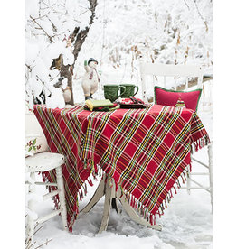 April Cornell Fireside Tartan Plaid 54x54 Square Tablecloth