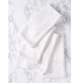 April Cornell Luxurious Linen Jacquard Ivory Napkins Set/4