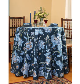 "April Cornell Jacobean Garden Navy 88"" Round Tablecloth"
