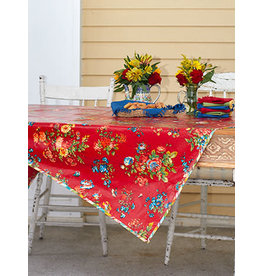 April Cornell Artist Garden Red 52x52 Square Oilcloth
