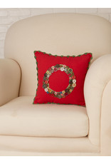April Cornell Wreath Embroidered Red Cushion   April Cornell