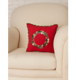 April Cornell Wreath Embroidered Red Cushion
