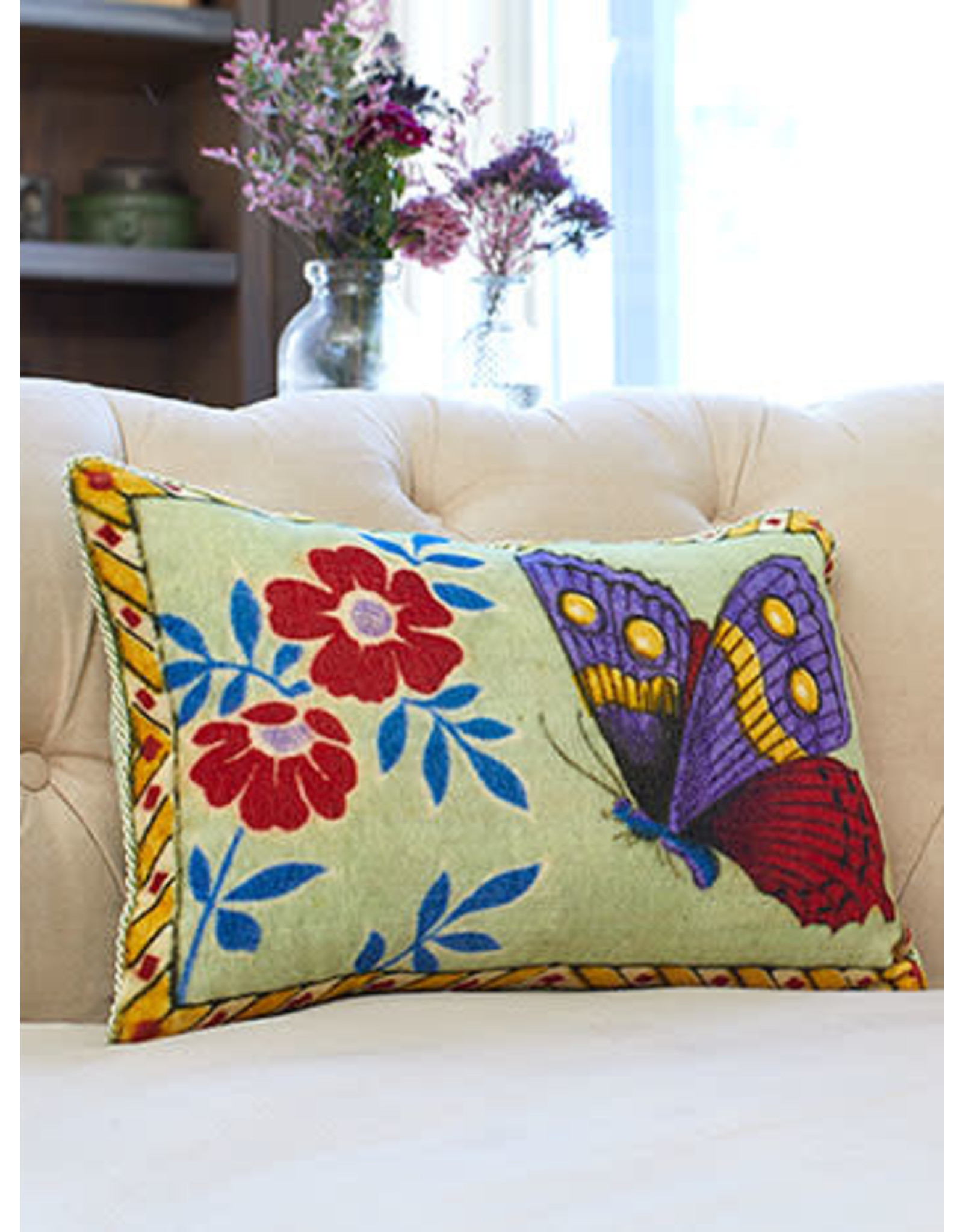 April Cornell April Cornell Sage Mariposa Velvet Cushion