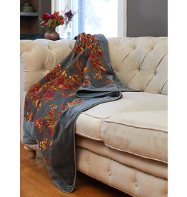 April Cornell Victorian Rose Charcoal Velvet Throw