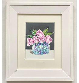 """Alice Tersteeg Alice Tersteeg """"Five Roses"""" Original Watercolor framed"""