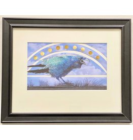 "Alice Tersteeg Alice Tersteeg ""Solstice Raven"" Original Mixed Media 16x13 framed"